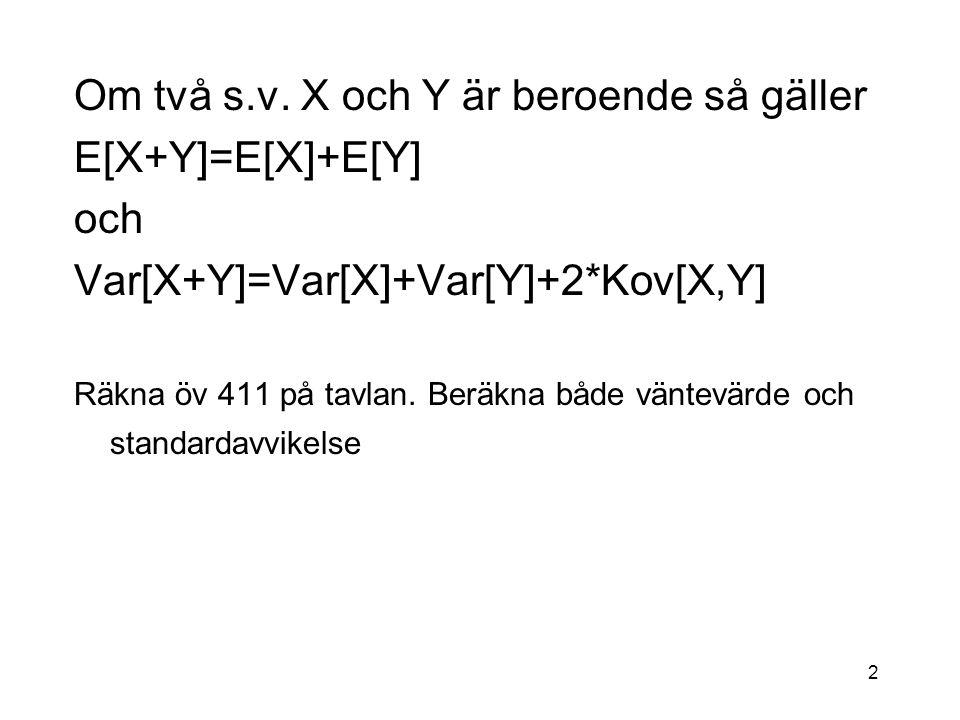 Om två s.v. X och Y är beroende så gäller E[X+Y]=E[X]+E[Y] och